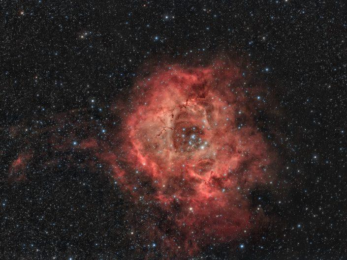 Nebulosa Rosetta, Tecnosky AG70 - Canon 600D mod - AZEQ6-GT 180 minuti rgb + 230 minuti H-Alpha