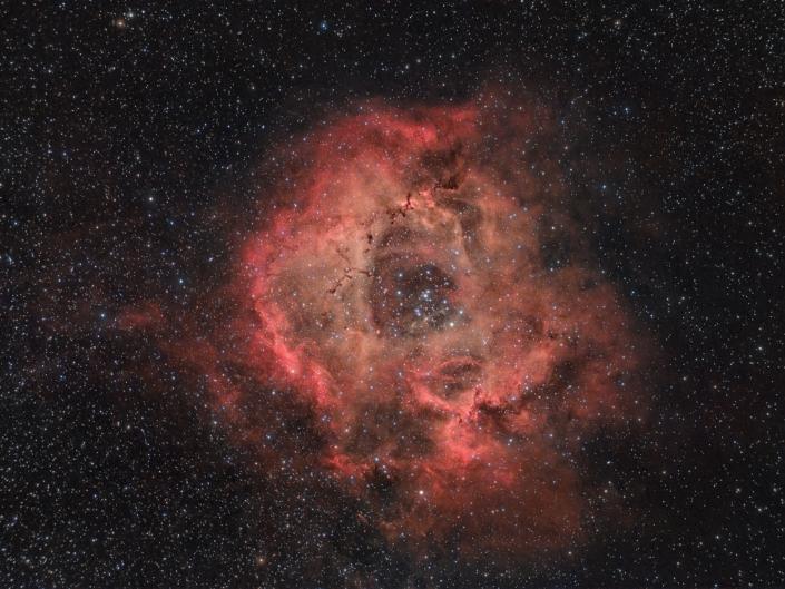 Nebulosa Rosetta - NGC 2237 A me questo EVOSTAR 72ED continua a piacere. Stanotte ho fatto una delle ultime prove che mi ero prefissato con questo rifrattore: ho fotografato con una camera per deep-sky (ASI 294 pro) e ho testato l'adattatore prodotto da Staroptics per l'utilizzo dei filtri da 2'' con EVOSTAR 72 e spianatore/riduttore 0.85x. Il filtro in questione è sempre il mio amato Optolong L-pro.